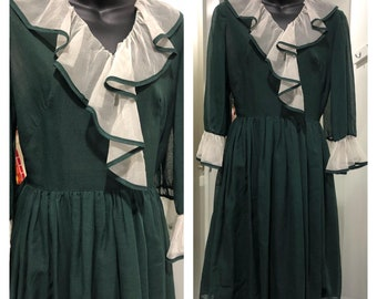 Vintage 1960's Toni Todd ruffled organza and cotton forest green day dress