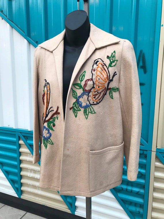 1940s Embroidered Wool Jacket - image 4