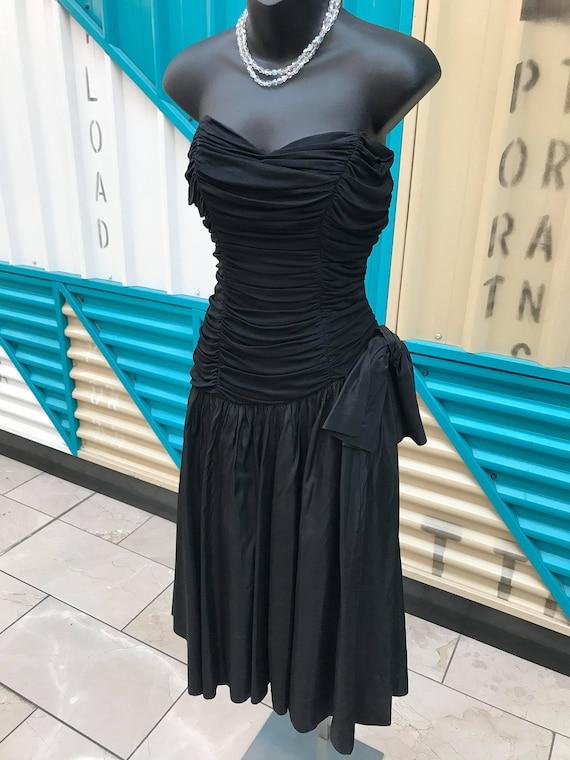 1940s Black Wool Jersey & Taffeta Strapless Dress