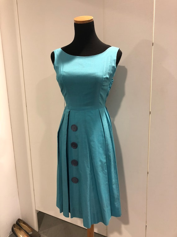 1950s blue silk pleated frock - image 1