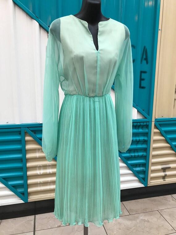 Beautiful 1960s Aqua Chiffon Dress with Accordion