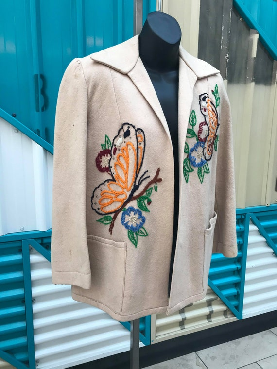 1940s Embroidered Wool Jacket - image 2