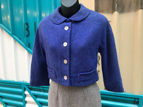 """1940s """"Tailored by Bradley"""" Blueberry Cropped Wool"""