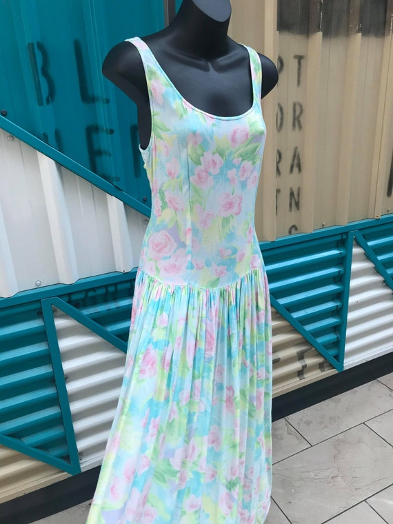 "Vintage 80s 90s ""Eileen West"" Rayon Summer Dress"