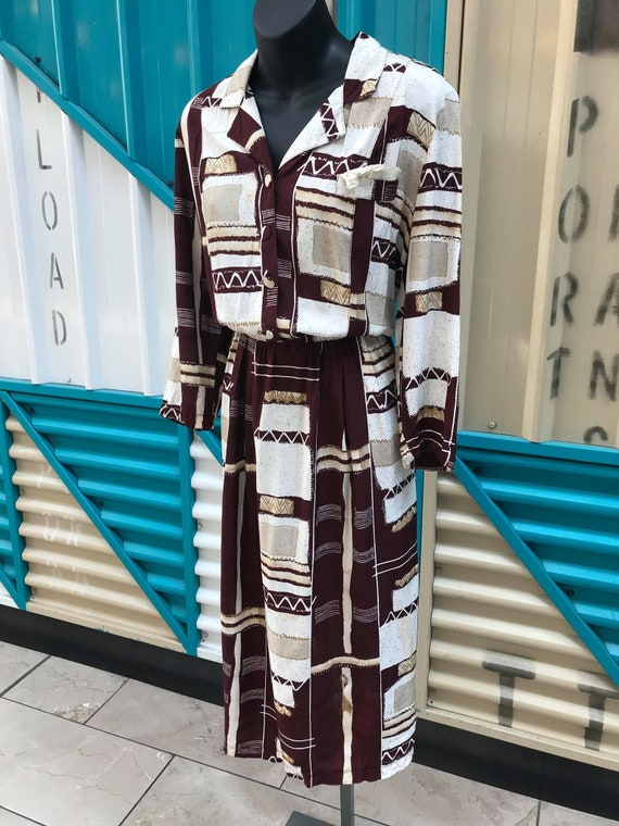 Vintage 70s 80s Printed Rayon Dress