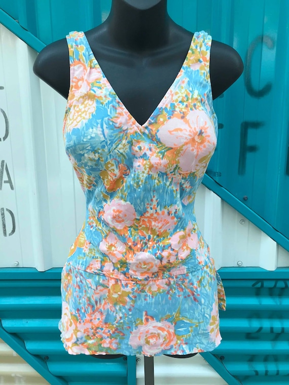"""1960s Blue & Pink Floral Swimsuit - """"Perfection Fi"""