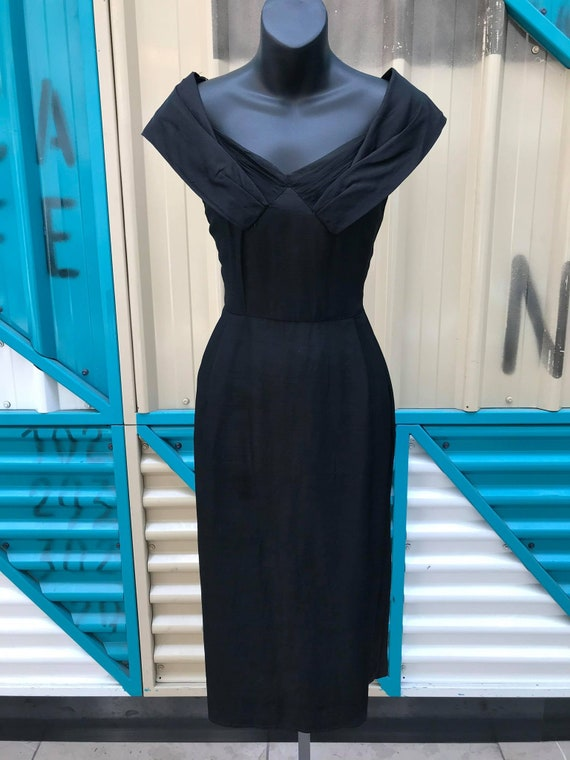 Beautiful 1950s Black Silk Cocktail Dress