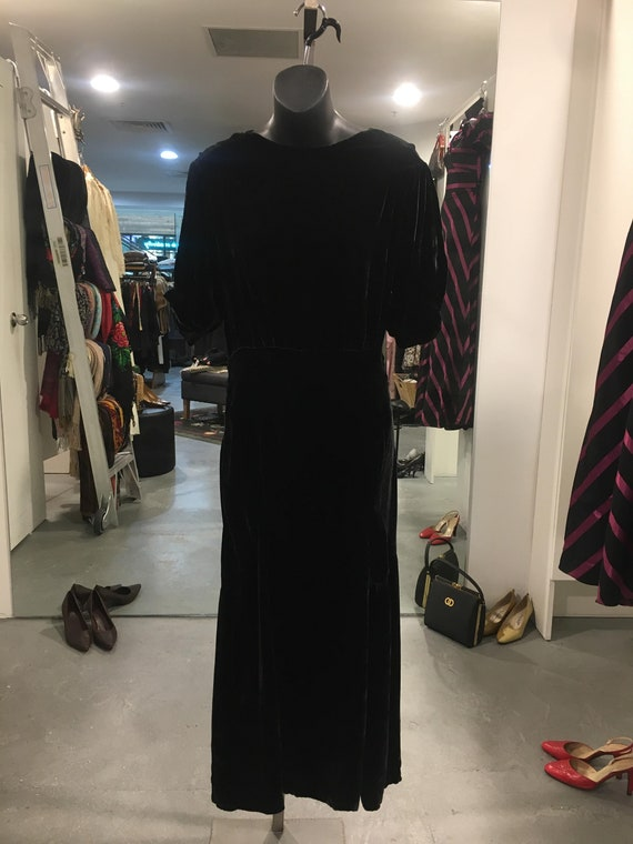 1930s Black silk Velvet Dress