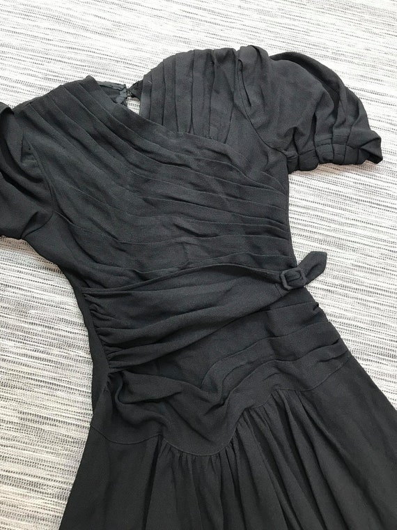 OOAK RARE 1930s Black Crepe Dress