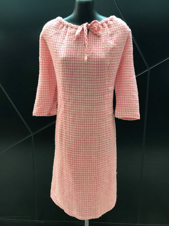 1960s Pink & Cream Gingham Wool Shift Dress