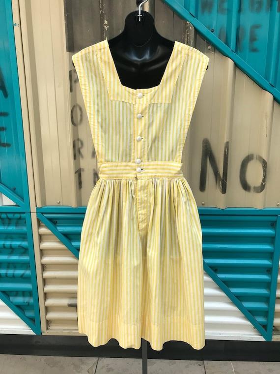 """1940s """"Altro"""" Yellow & White Striped Pinafore Dre… - image 6"""