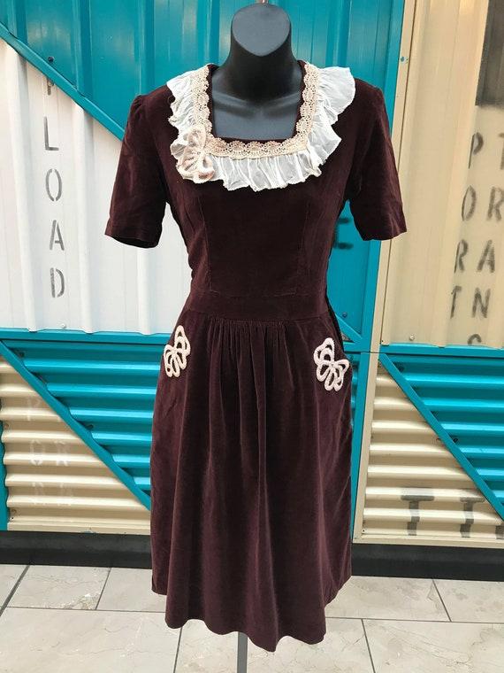 1930s Chocolate Brown Velvet Dress