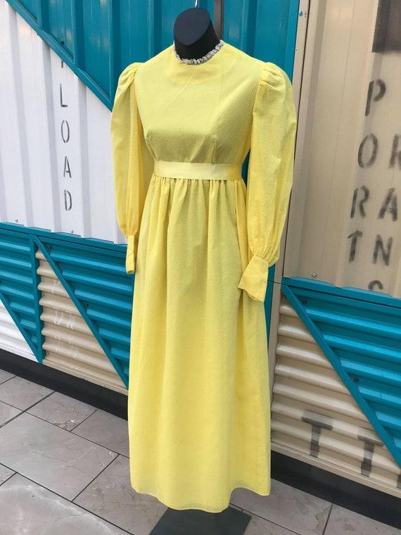 1970s Yellow Long Sleeve Swissdot Maxi Dress