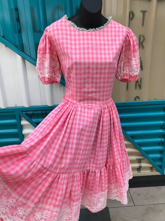 Vintage Pink Gingham Prairie Dress with Lace Trim