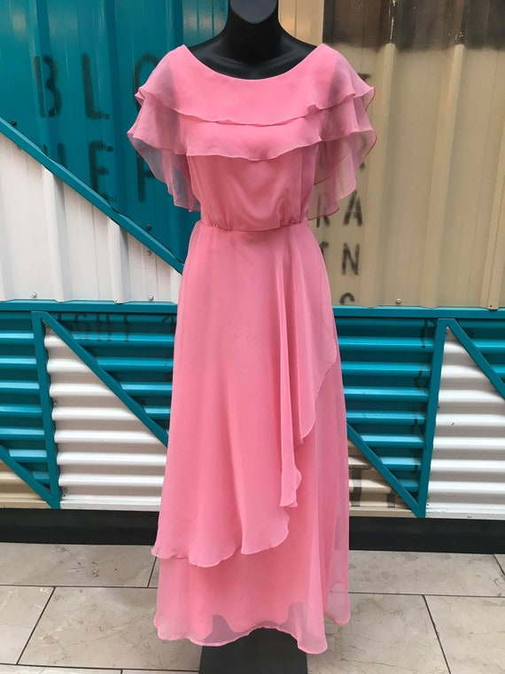 1970s Carnation Pink Taffeta & Chiffon Maxi Dress