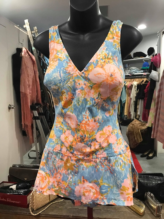 "1960s Blue & Pink Floral Swimsuit - ""Perfection Fi"