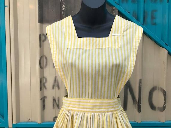 """1940s """"Altro"""" Yellow & White Striped Pinafore Dre… - image 4"""