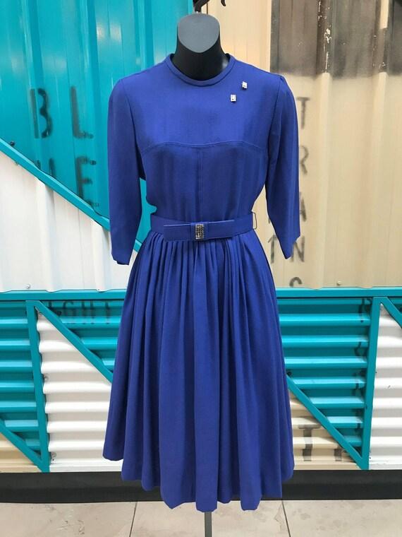 1950s Cobalt Blue Wool Dress