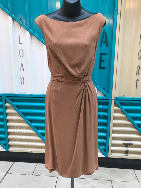 RARE 1940s CEIL CHAPMAN Wool Crepe Dress