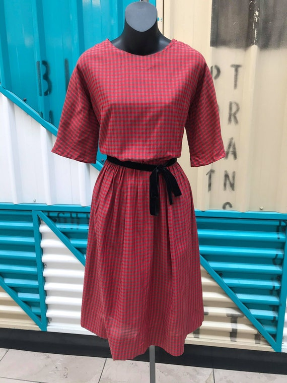 1940s Cold-Pressed Rayon Plaid Dress