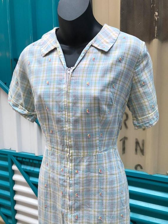 1940s Pastel Plaid Cotton Day Dress - image 4
