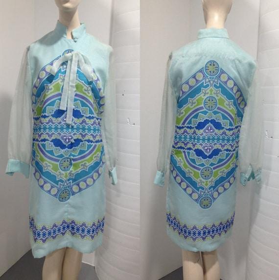 1960s  'Alfred Shaheen' Chiffon Print Shift Dress