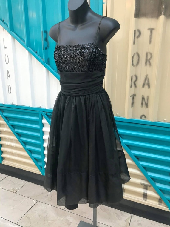 1960s Black Organza Party Dress with Sequinned Bod