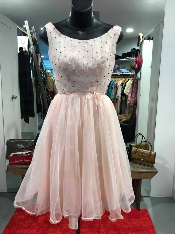 1950s Pale Pink Chiffon Dress - Full Skirt