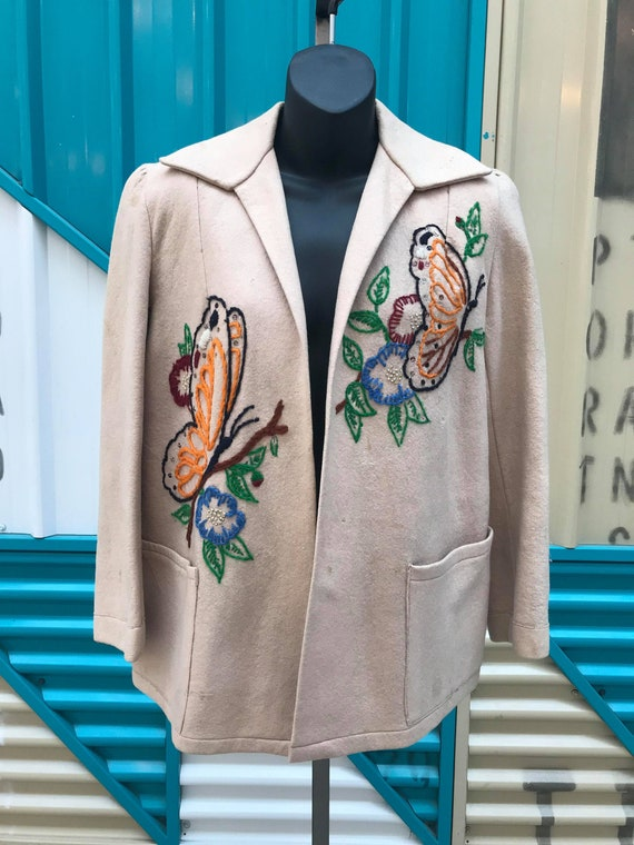 1940s Embroidered Wool Jacket