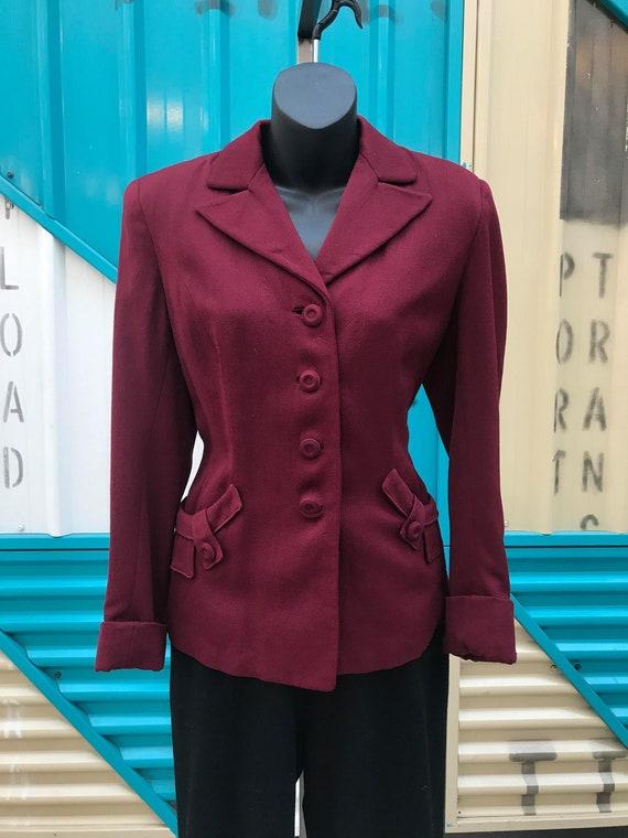 1940s Burgundy Wool Jacket