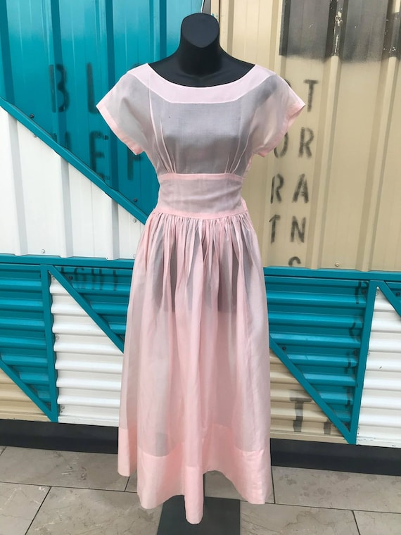 40s 50s Baby Pink Sheer Organza Dress