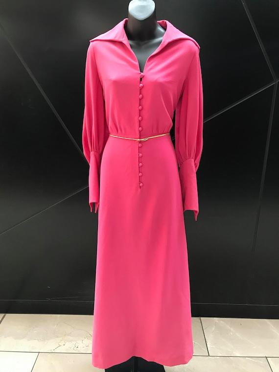 """1970s """"Magdeleine Poncet"""" Fuschia Hostess Dress"""