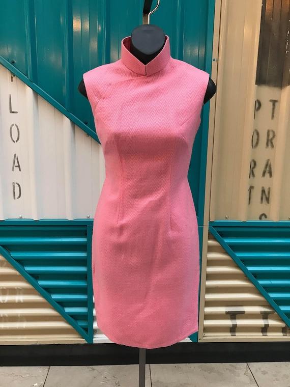 1960s Bubblegum Pink Wool Cheongsam