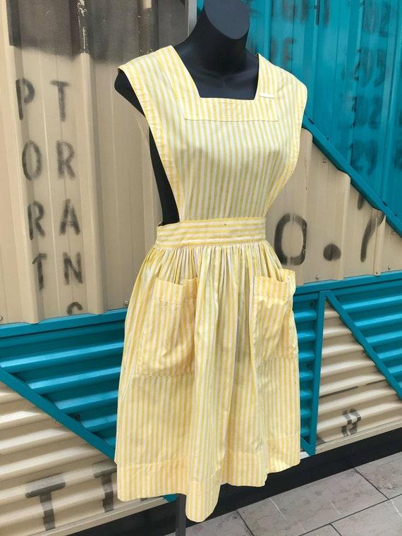 """1940s """"Altro"""" Yellow & White Striped Pinafore Dre… - image 5"""