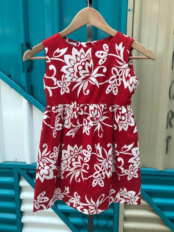 Vintage girl/'s leaf print long sleeve dress Vtg kids dress Vintage dress and hankerchief Size 6Y