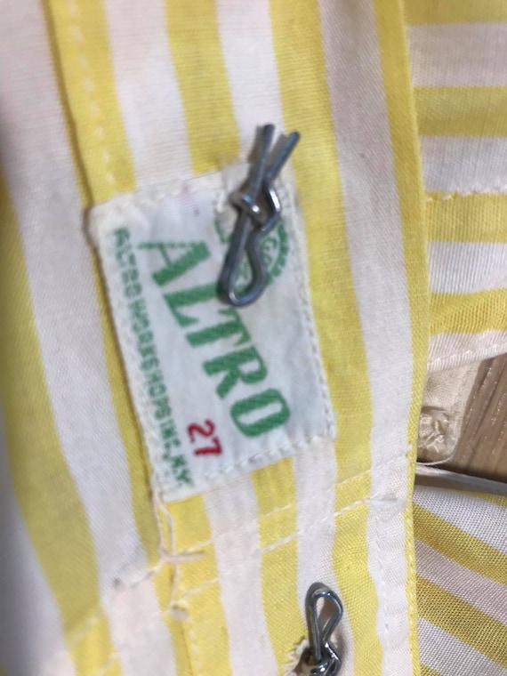 """1940s """"Altro"""" Yellow & White Striped Pinafore Dre… - image 7"""