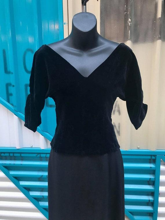1950s Black Velvet Blouse