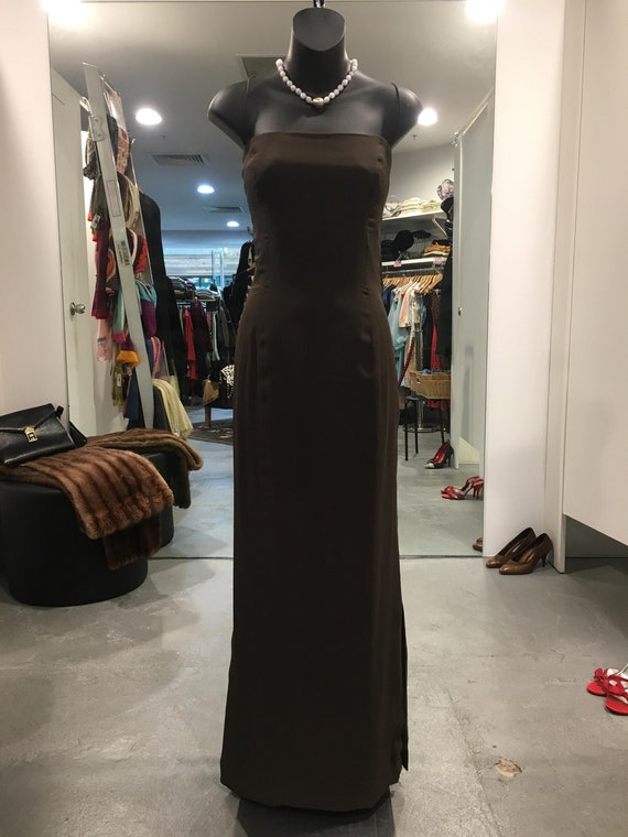 1930s Strapless Rich Brown Evening Gown
