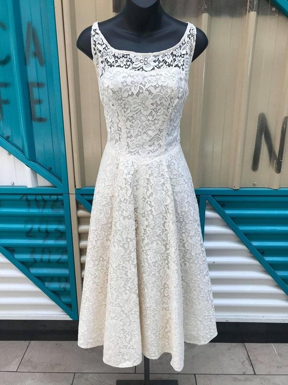 1950s White Lace Dress
