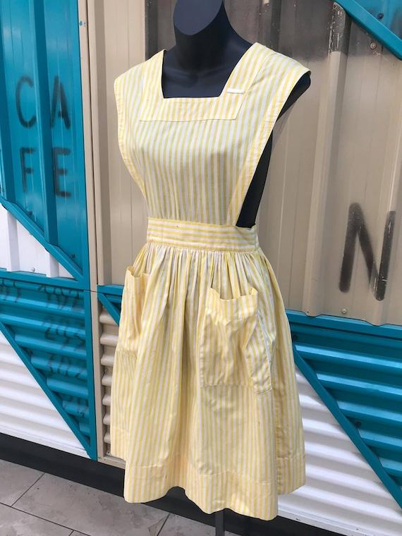 "1940s ""Altro"" Yellow & White Striped Pinafore Dres"