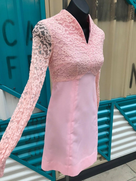 1960s Pastel Pink Babydoll Dress with Lace Bodice