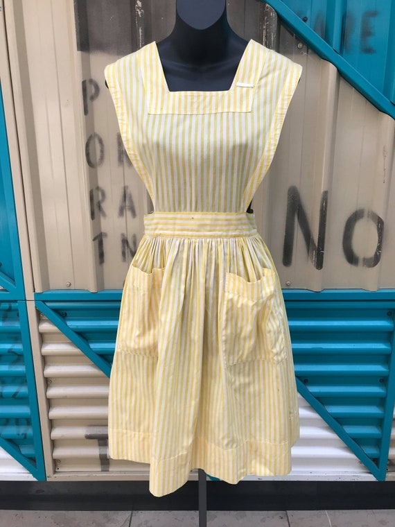 """1940s """"Altro"""" Yellow & White Striped Pinafore Dre… - image 3"""