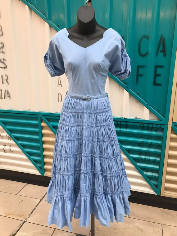 "1950s ""Gigi Young"" Baby Blue Dress with Fabulous R"