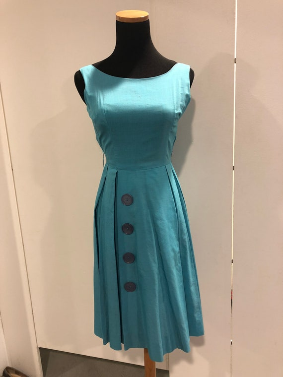 1950s blue silk pleated frock - image 2