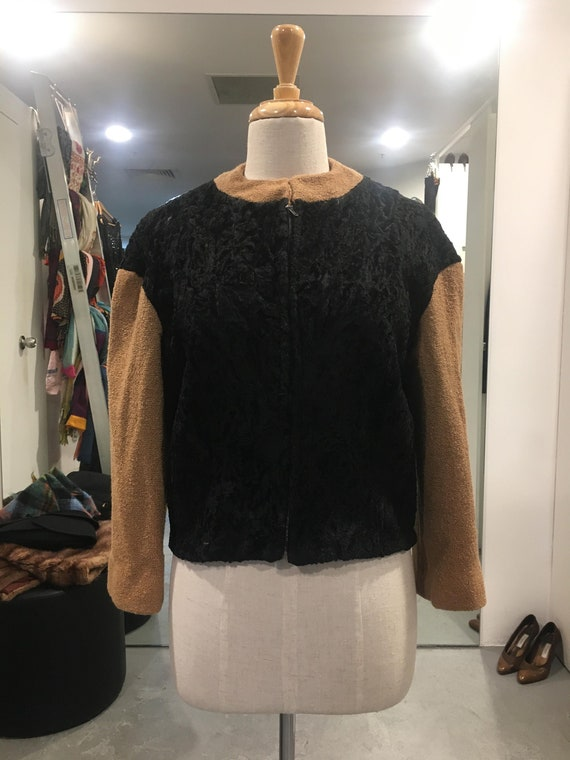1950s Astrakhan and Wool boucle Cropped Jacket OOA