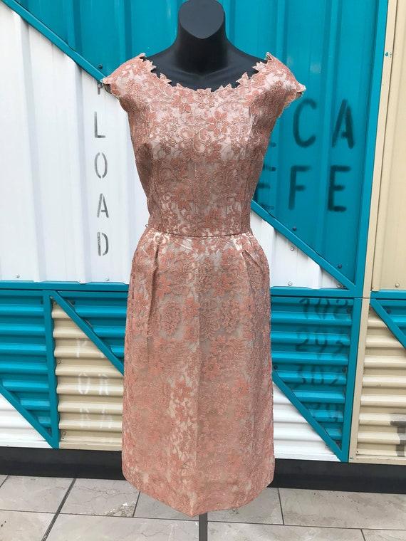 1960s Dusty Pink Lace & Taffeta Dress