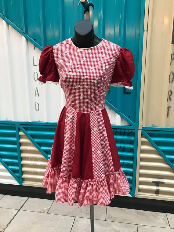 1970s Red Gingham Prairie Dress