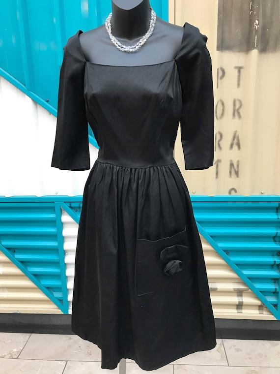 "1940s ""Youth Fair Juniors"" Black Cocktail Dress"