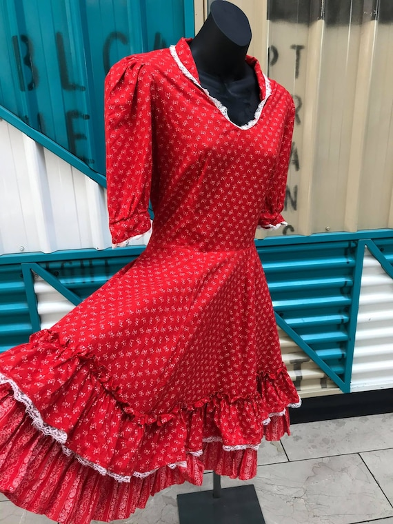 60s 70s Red with White Floral Print Prairie Dress