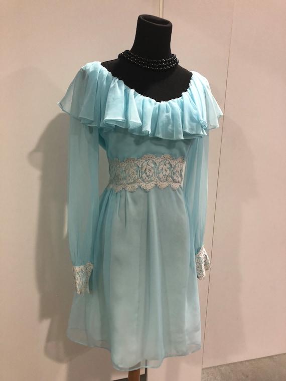 1960s vintage chiffon and lace dress by 'Hazerfeld